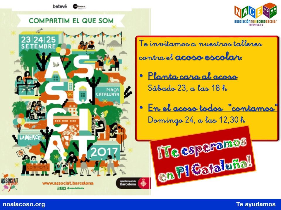 Cartel de invitación a participar de los talleres de NACE en la Festa de la Mercè